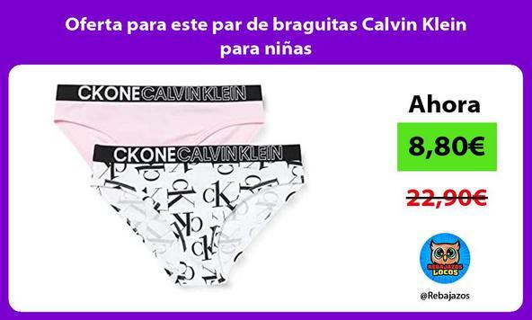 Oferta para este par de braguitas Calvin Klein para niñas