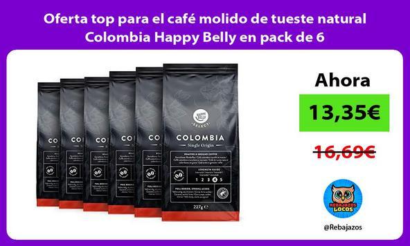 Oferta top para el café molido de tueste natural Colombia Happy Belly en pack de 6