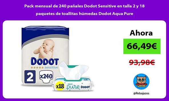 Pack mensual de 240 pañales Dodot Sensitive en talla 2 y 18 paquetes de toallitas húmedas Dodot Aqua Pure