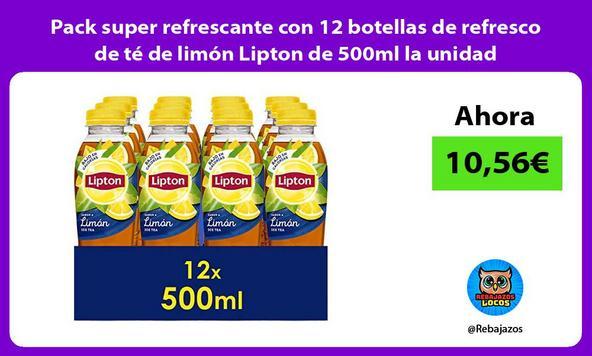 Pack super refrescante con 12 botellas de refresco de té de limón Lipton de 500ml la unidad