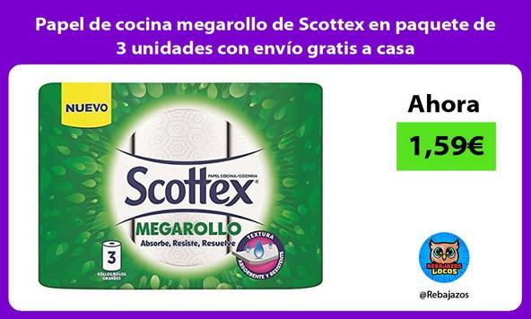 Papel de cocina megarollo de Scottex en paquete de 3 unidades con envío gratis a casa