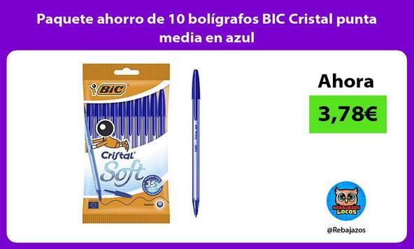 Paquete ahorro de 10 bolígrafos BIC Cristal punta media en azul