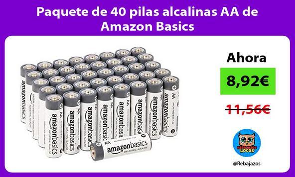 Paquete de 40 pilas alcalinas AA de Amazon Basics