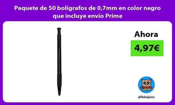 Paquete de 50 bolígrafos de 0,7mm en color negro que incluye envío Prime