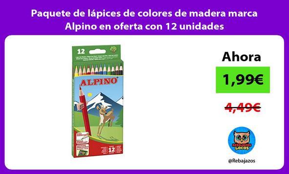 Paquete de lápices de colores de madera marca Alpino en oferta con 12 unidades