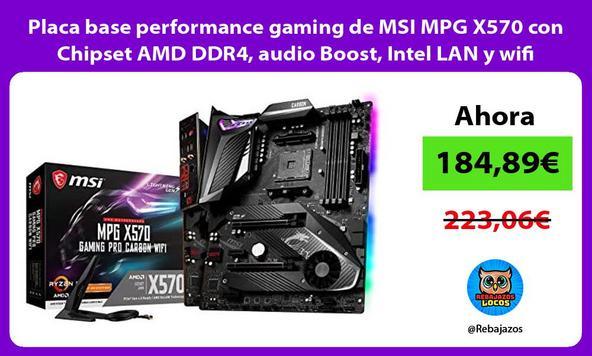 Placa base performance gaming de MSI MPG X570 con Chipset AMD DDR4, audio Boost, Intel LAN y wifi