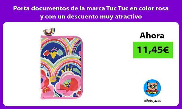 Porta documentos de la marca Tuc Tuc en color rosa y con un descuento muy atractivo