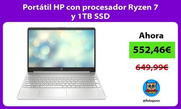 Portátil HP con procesador Ryzen 7 y 1TB SSD