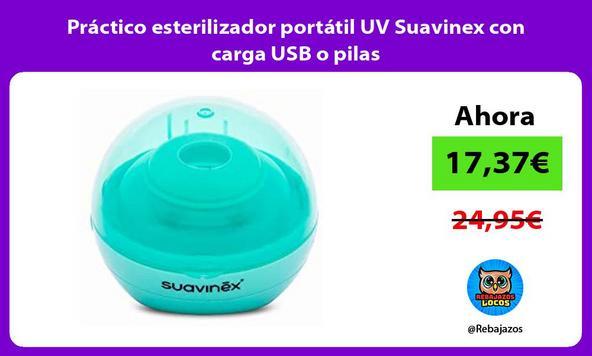 Práctico esterilizador portátil UV Suavinex con carga USB o pilas