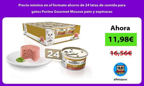 Precio mínimo en el formato ahorro de 24 latas de comida para gatos Purina Gourmet Mousse pato y espinacas
