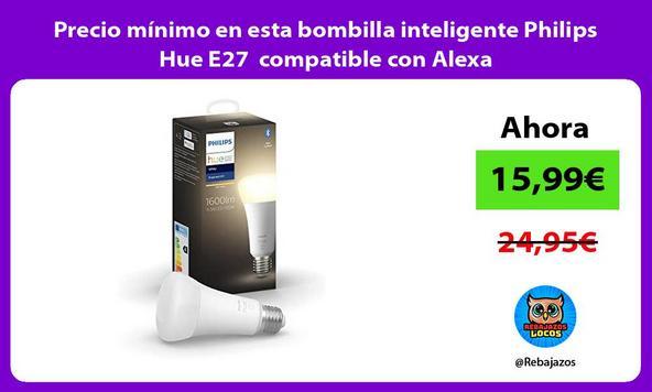 Precio mínimo en esta bombilla inteligente Philips Hue E27 compatible con Alexa