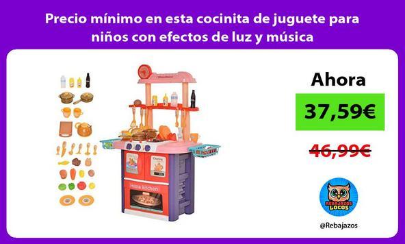 Precio mínimo en esta cocinita de juguete para niños con efectos de luz y música