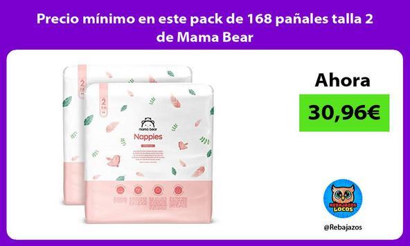 Precio mínimo en este pack de 168 pañales talla 2 de Mama Bear