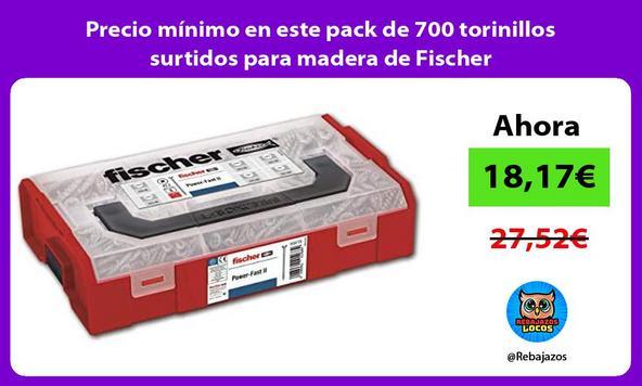 Precio mínimo en este pack de 700 torinillos surtidos para madera de Fischer