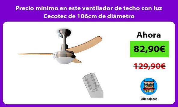 Precio mínimo en este ventilador de techo con luz Cecotec de 106cm de diámetro