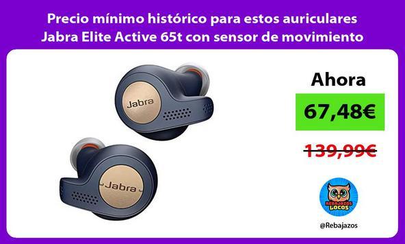 Precio mínimo histórico para estos auriculares Jabra Elite Active 65t con sensor de movimiento