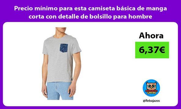 Precio mínimo para esta camiseta básica de manga corta con detalle de bolsillo para hombre