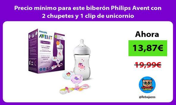 Precio mínimo para este biberón Philips Avent con 2 chupetes y 1 clip de unicornio