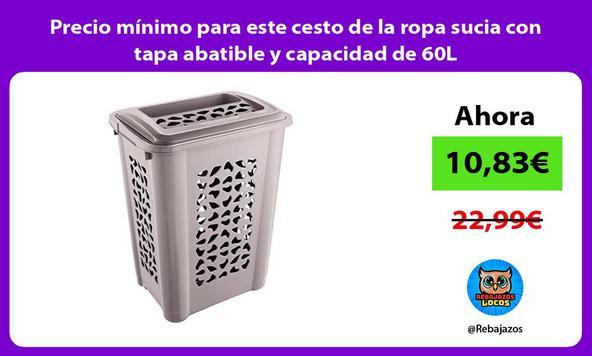 Precio mínimo para este cesto de la ropa sucia con tapa abatible y capacidad de 60L