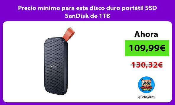 Precio mínimo para este disco duro portátil SSD SanDisk de 1TB