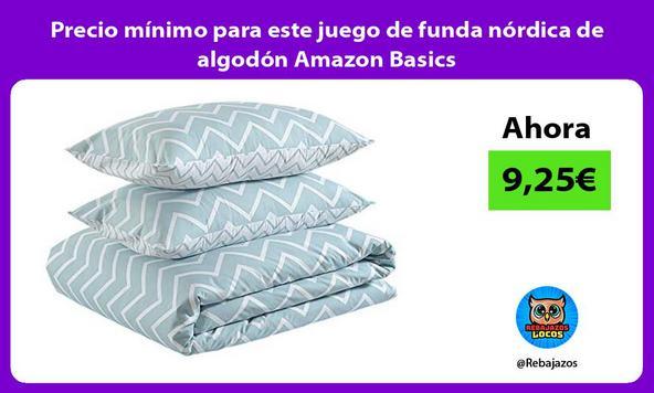 Precio mínimo para este juego de funda nórdica de algodón Amazon Basics