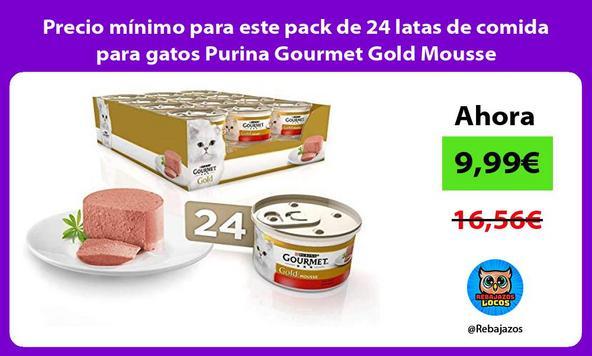 Precio mínimo para este pack de 24 latas de comida para gatos Purina Gourmet Gold Mousse