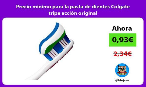Precio mínimo para la pasta de dientes Colgate tripe acción original
