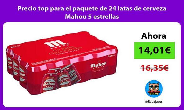 Precio top para el paquete de 24 latas de cerveza Mahou 5 estrellas