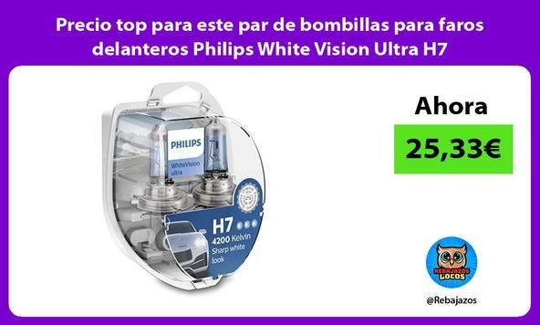 Precio top para este par de bombillas para faros delanteros Philips White Vision Ultra H7
