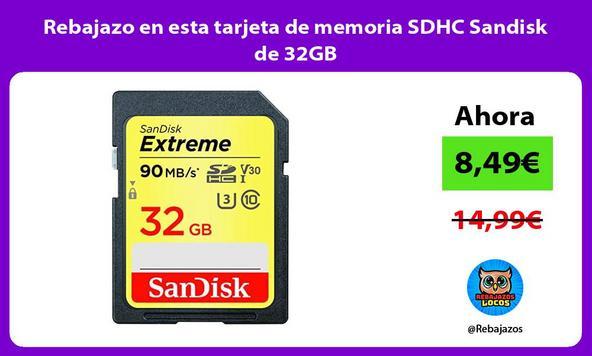 Rebajazo en esta tarjeta de memoria SDHC Sandisk de 32GB