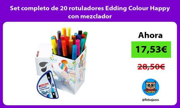 Set completo de 20 rotuladores Edding Colour Happy con mezclador