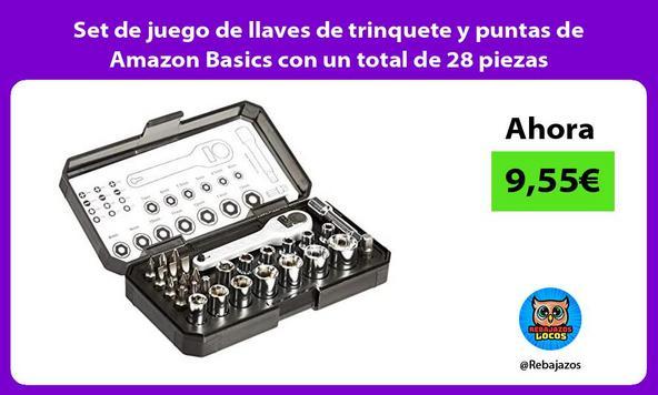Set de juego de llaves de trinquete y puntas de Amazon Basics con un total de 28 piezas
