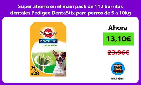 Super ahorro en el maxi pack de 112 barritas dentales Pedigee DentaStix para perros de 5 a 10kg