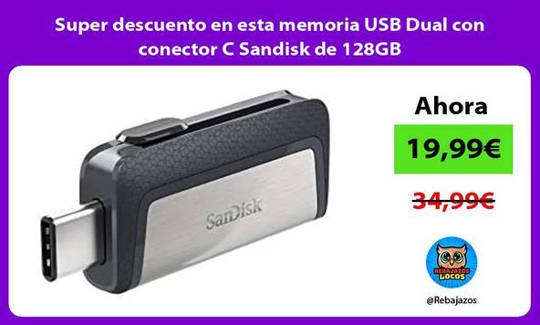 Super descuento en esta memoria USB Dual con conector C Sandisk de 128GB