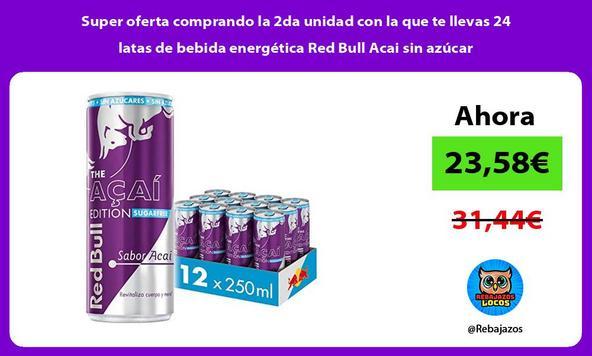 Super oferta comprando la 2da unidad con la que te llevas 24 latas de bebida energética Red Bull Acai sin azúcar