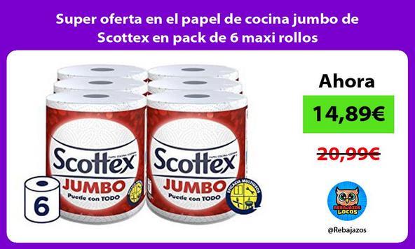 Super oferta en el papel de cocina jumbo de Scottex en pack de 6 maxi rollos