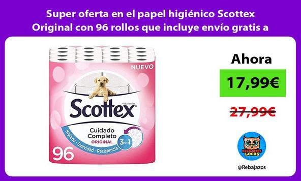 Super oferta en el papel higiénico Scottex Original con 96 rollos que incluye envío gratis a casa