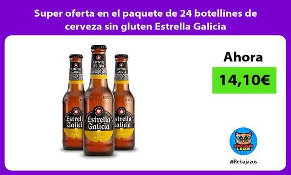 Super oferta en el paquete de 24 botellines de cerveza sin gluten Estrella Galicia
