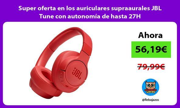 Super oferta en los auriculares supraaurales JBL Tune con autonomía de hasta 27H