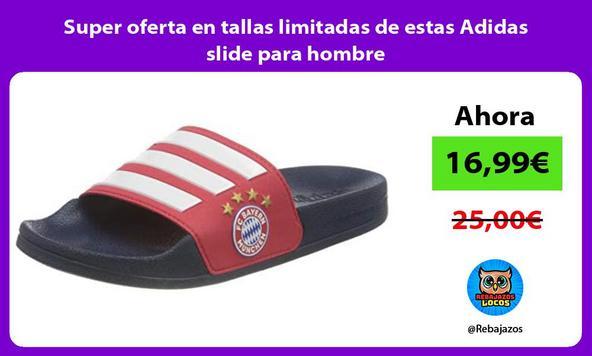 Super oferta en tallas limitadas de estas Adidas slide para hombre