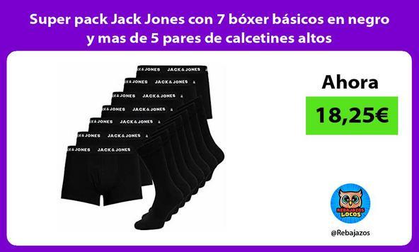 Super pack Jack Jones con 7 bóxer básicos en negro y mas de 5 pares de calcetines altos