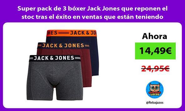 Super pack de 3 bóxer Jack Jones que reponen el stoc tras el éxito en ventas que están teniendo