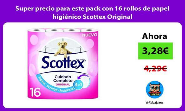 Super precio para este pack con 16 rollos de papel higiénico Scottex Original