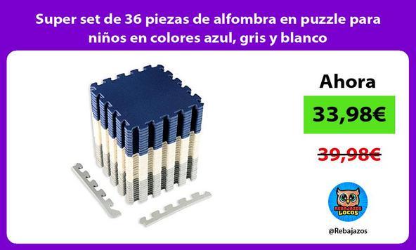 Super set de 36 piezas de alfombra en puzzle para niños en colores azul, gris y blanco