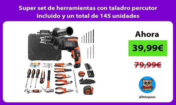 Super set de herramientas con taladro percutor incluido y un total de 145 unidades