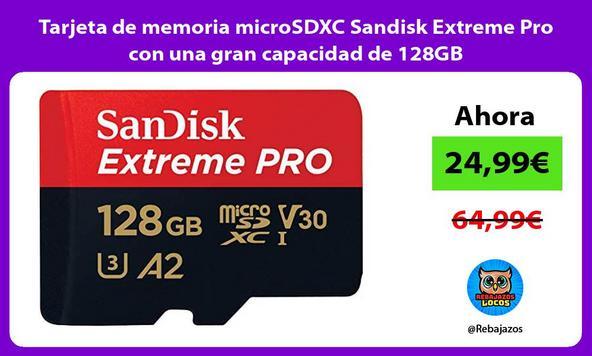 Tarjeta de memoria microSDXC Sandisk Extreme Pro con una gran capacidad de 128GB