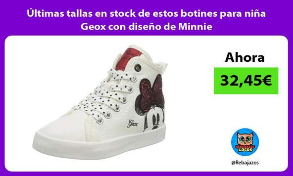 Últimas tallas en stock de estos botines para niña Geox con diseño de Minnie