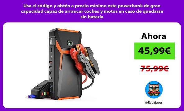 Usa el código y obtén a precio mínimo este powerbank de gran capacidad capaz de arrancar coches y motos en caso de quedarse sin batería