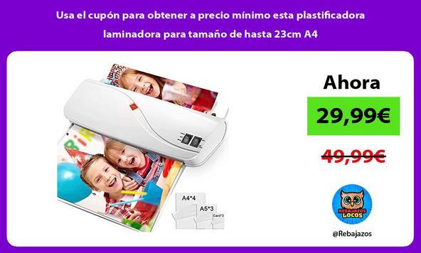 Usa el cupón para obtener a precio mínimo esta plastificadora laminadora para tamaño de hasta 23cm A4