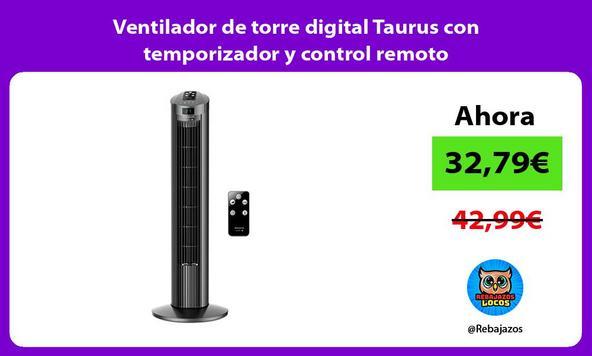 Ventilador de torre digital Taurus con temporizador y control remoto